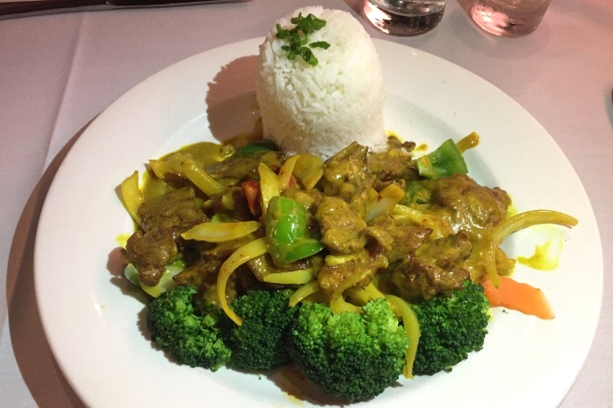 photo of beef with Malaysian curry from All Seasons Table, Malden, MA