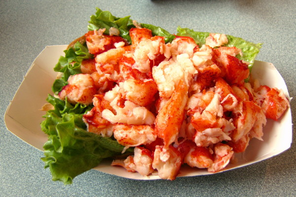 photo of warm lobster roll from Arnold's, Eastham, MA