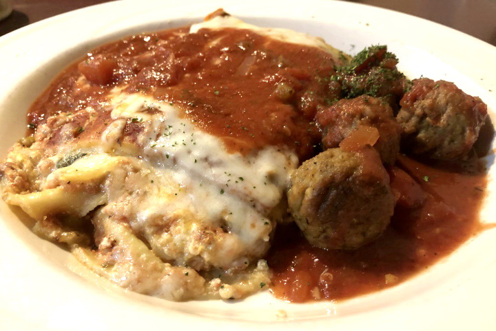 photo of lasagna and meatballs from Backstreet Grille and Tavern, Stoughton, MA