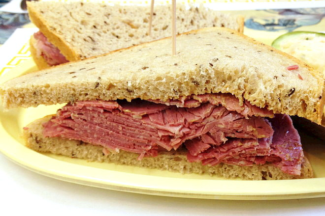 photo of corned beef sandwich from Barry's Village Deli, Waban, MA