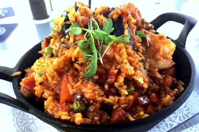 photo of paella from Bay Pointe Waterfront Restaurant, Quincy, MA