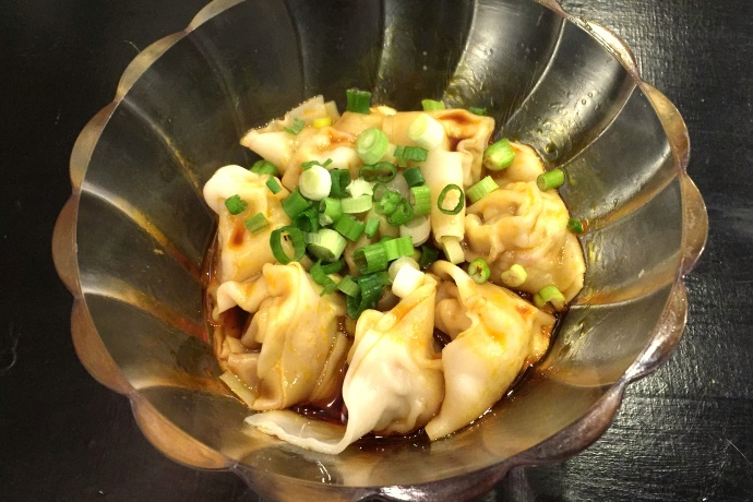 photo of chicken dumplings with Sichuan sauce from Bess's Cafe, Brookline, MA