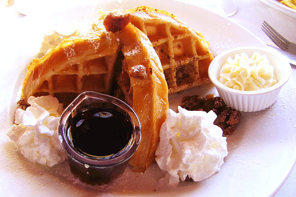photo of caramel pecan waffle from Bintliff's, Ogunquit, ME
