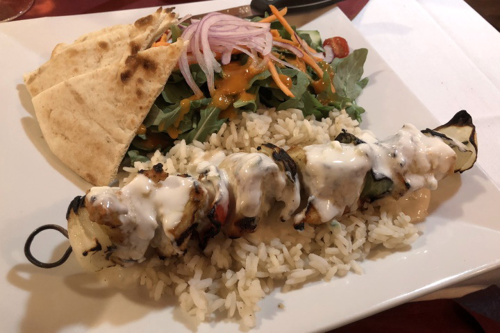 photo of a chicken kabob plate from Brothers Restaurant, Brookline, MA
