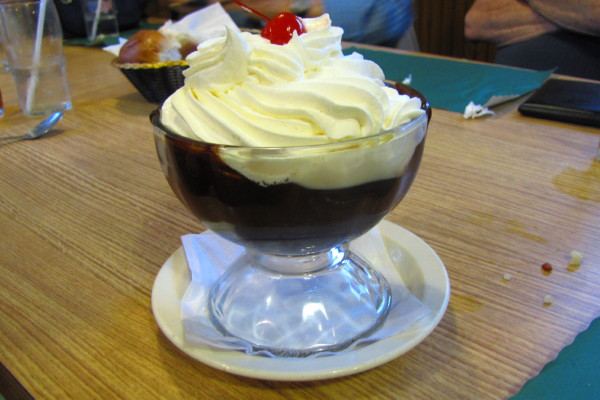 photo of brownie sundae from Buffalo Head Restaurant, Forestport, NY