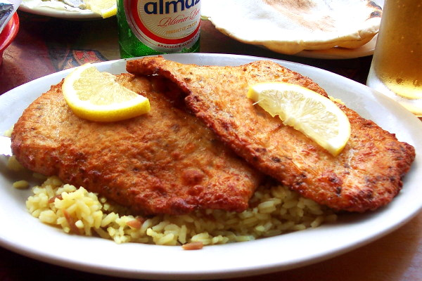photo of chicken schnitzel from Cafe Jaffa, Boston, MA