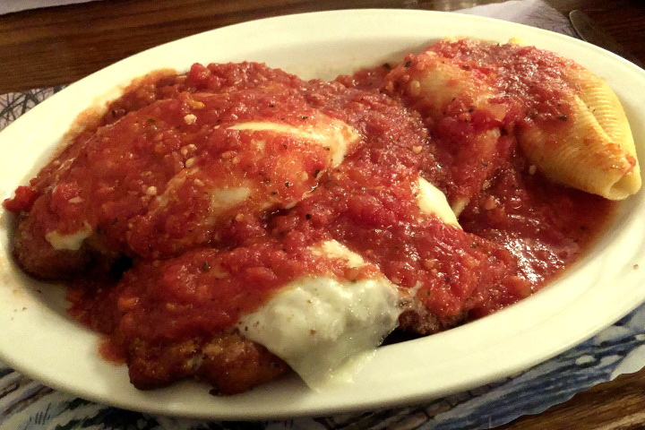 photo of chicken parmigiana and stuffed shells from Cafe Venice, Norwood, MA