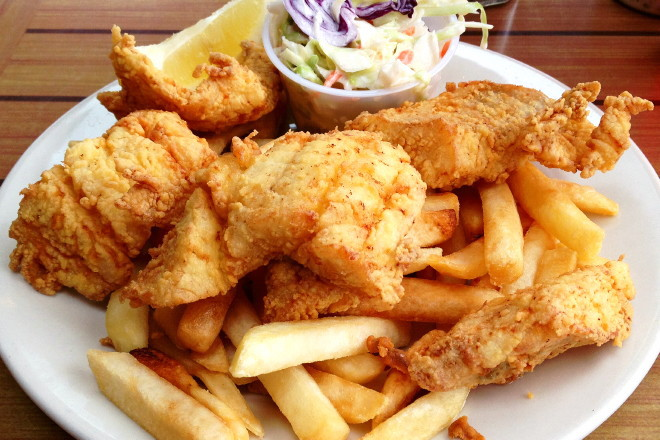 photo of fish and chips from Captain Carlo's, Gloucester, MA