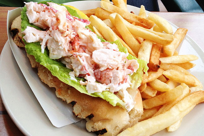 photo of lobster roll from Captain Carlo's, Gloucester, MA