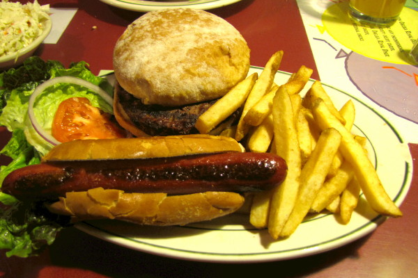 photo of the Buffalo Bill's Feast (buffalo hot dog, bison burger, fries) from Chelsea Royal Diner, Brattleboro, VT