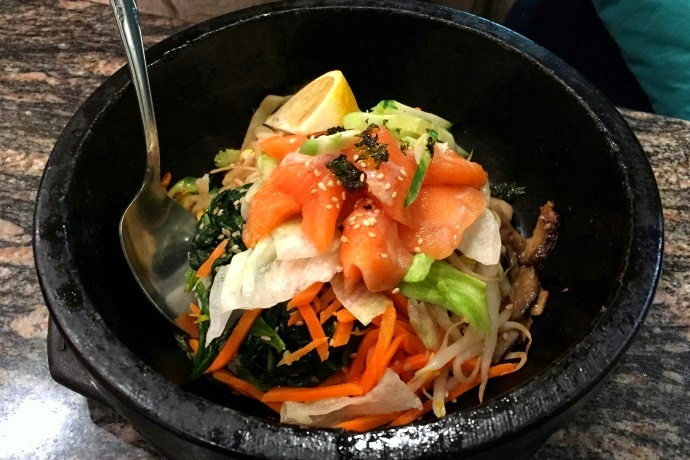 photo of salmon tartare bibimbap from Cho Cho's, Cambridge, MA