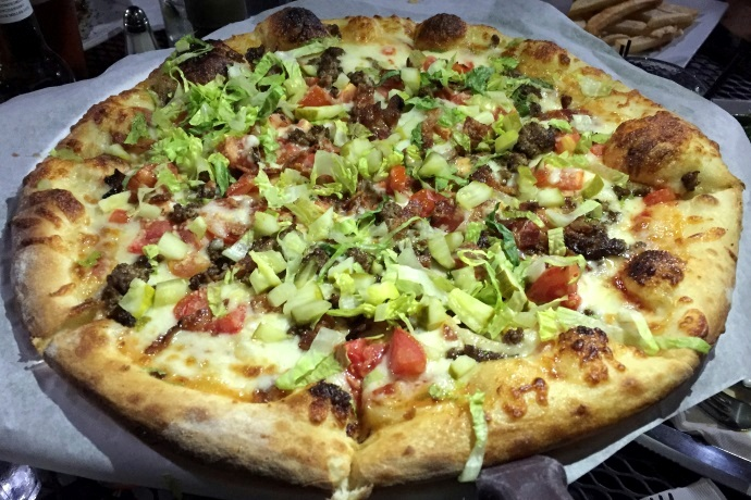 photo of bacon cheeseburger pizza from City Streets, Waltham, MA