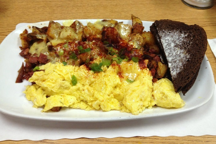 photo of corned beef hash platter from Corner Cafe, Stoughton, MA