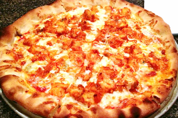 photo of buffalo chicken and bleu cheese pizza from Costello's Tavern, Jamaica Plain, MA