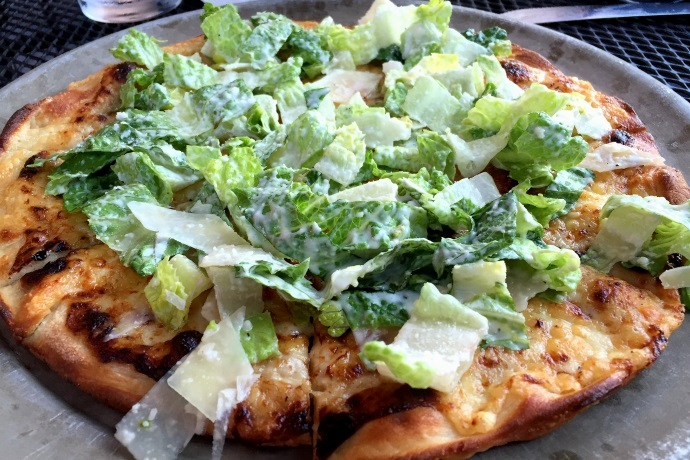 photo of Caesar salad pizza from Darcy's Village Pub, Quincy, MA (from hiddenboston.com)