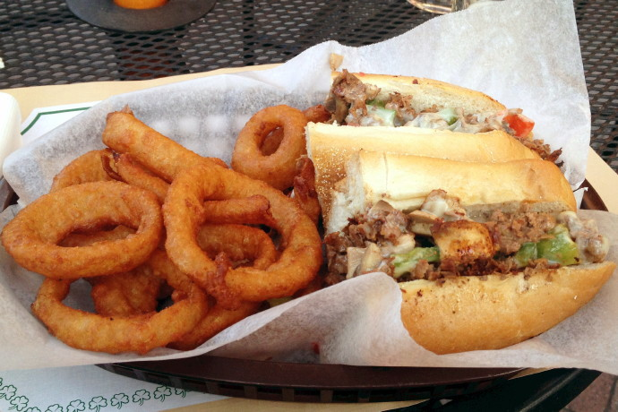 photo of a cheesesteak from Darcy's Village Pub, Quincy, MA (from hiddenboston.com)