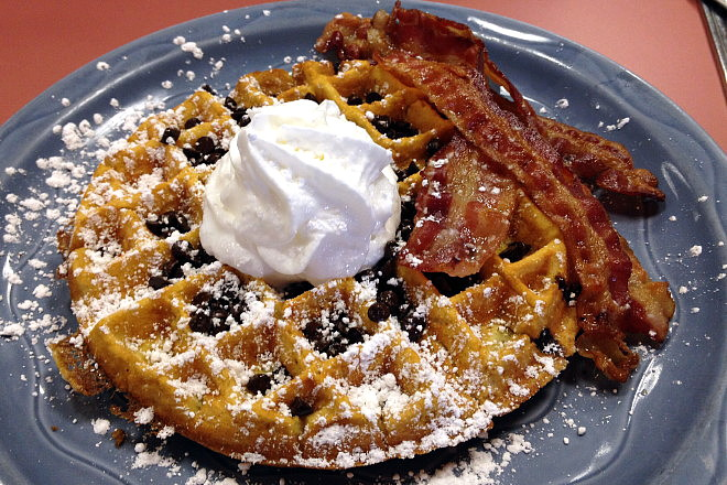 photo of a waffle from Donna's Restaurant, East Boston, MA (from hiddenboston.com)