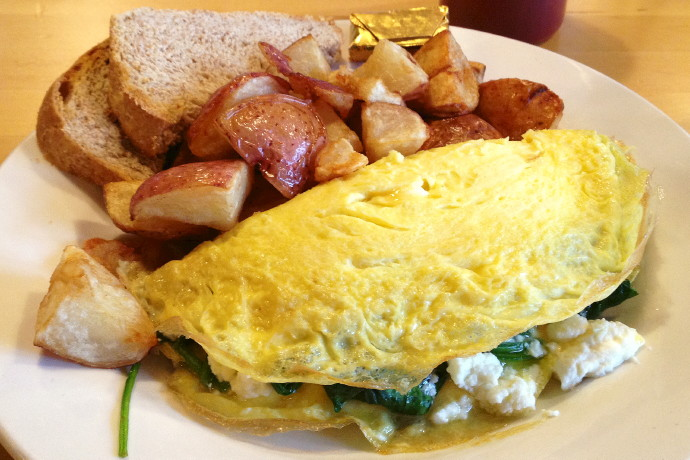 photo of spinach and feta omelet from Dot 2 Dot Cafe, Dorchester, MA