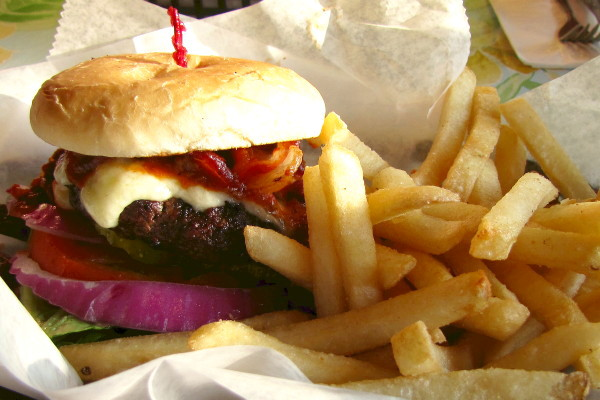 photo of cheeseburger from the Dudley Chateau, Wayland, MA