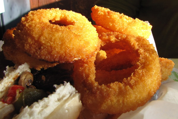photo of onion rings from the Dudley Chateau, Wayland, MA