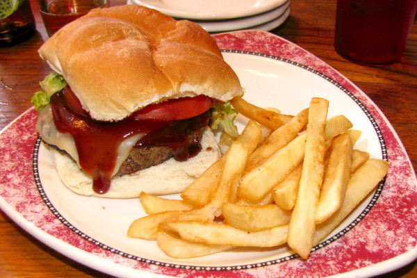 photo of mesquite burger from the Eagle Brook Saloon, Norfolk, MA