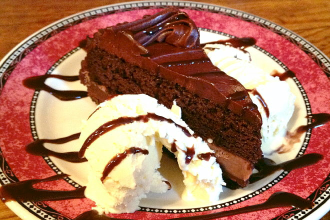 photo of chocolate cake from the Eagle Brook Saloon, Norfolk, MA