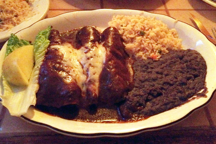 photo of enchiladas with mole sauce from El Sarape, Braintree, MA