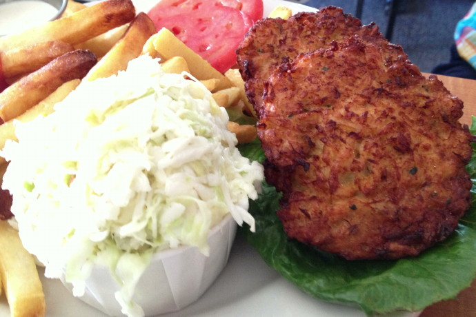 photo of crab cakes from Evelyn's Drive-In, Tiverton, RI