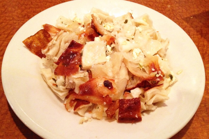 photo of su boregi (baked phyllo dough mixed with feta cheese) from Brookline Family Restaurant, Brookline, MA