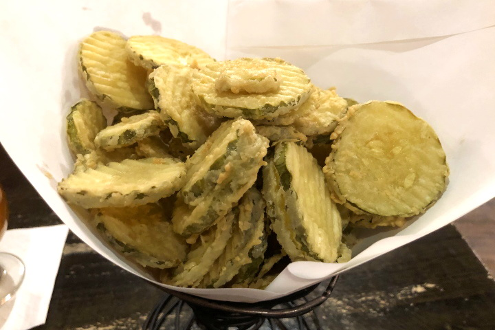 photo of fried dill pickle slices from the Fat Cat, Quincy, MA