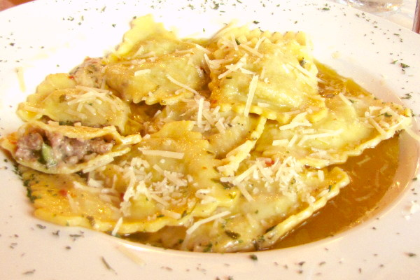 photo of sausage and broccolinni ravioli from the Gas Lamp Grille, Newport, RI