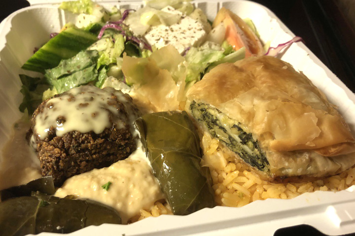 photo of vegetarian plate from Greek Corner, Cambridge, MA