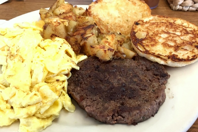 photo of burger, eggs, and home fries from The Grill and Eye, Weymouth, MA