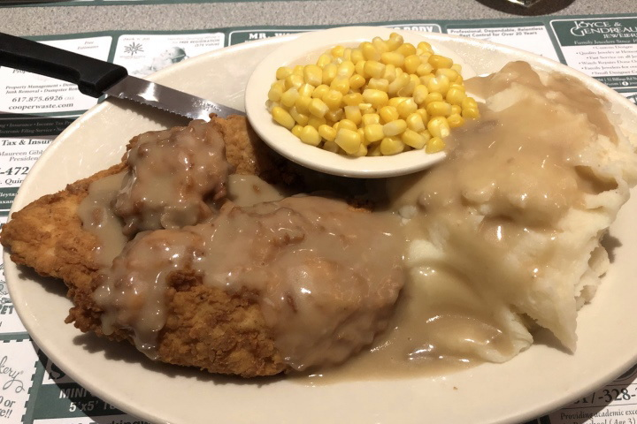 photo of boneless fried chicken dinner from Grumpy White's, Quincy, MA