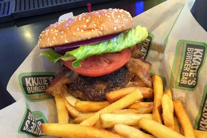 photo of a black and blue burger from KKatie's Burger Bar, Marshfield, MA