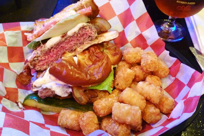 photo of a pretzel bacon burger from KKatie's Burger Bar, Marshfield, MA