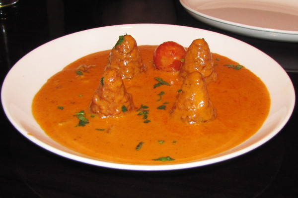 photo of Buddha Delight (fried cheese cones in tomato cream sauce) from Kathmandu Spice, Arlington, MA