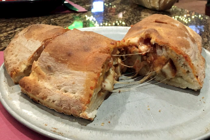 photo of chicken parm calzone from Kelley Square Pub, East Boston, MA