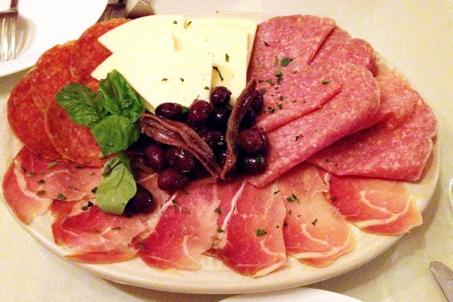 photo of an antipasto from L'Antica Trattoria at St. Bart's Club, Providence, RI