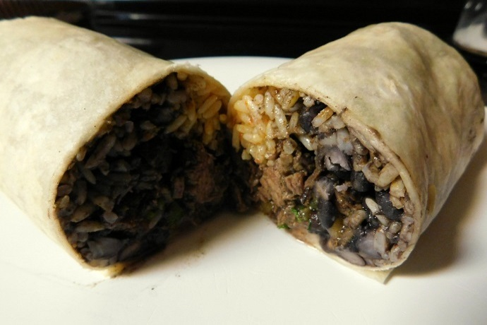 photo of steak burrito from La Victoria Taqueria, Arlington, MA