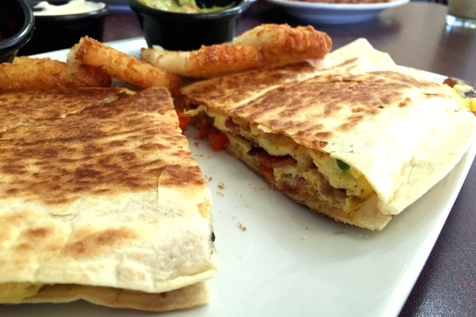 photo of a breakfast quesadilla from Leggos, Holbrook, MA