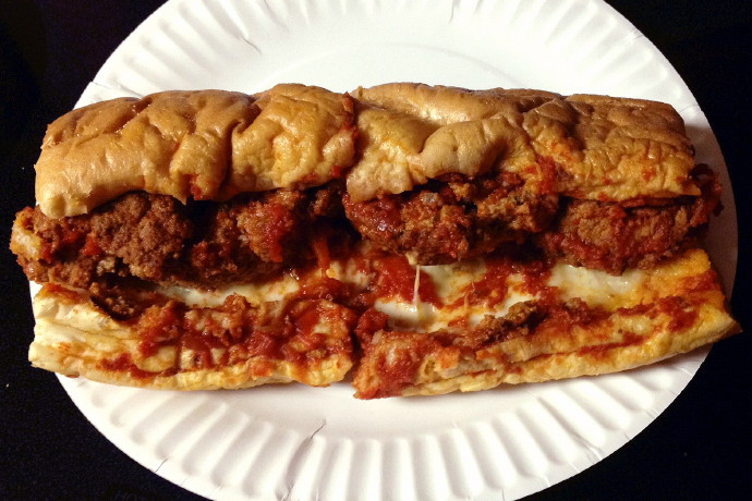 photo of a meatball sub from Leone's Sub and Pizza, Somerville, MA