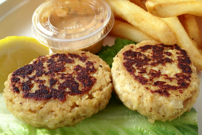 photo of crabcakes from The Lobster Pool, Rockport, MA