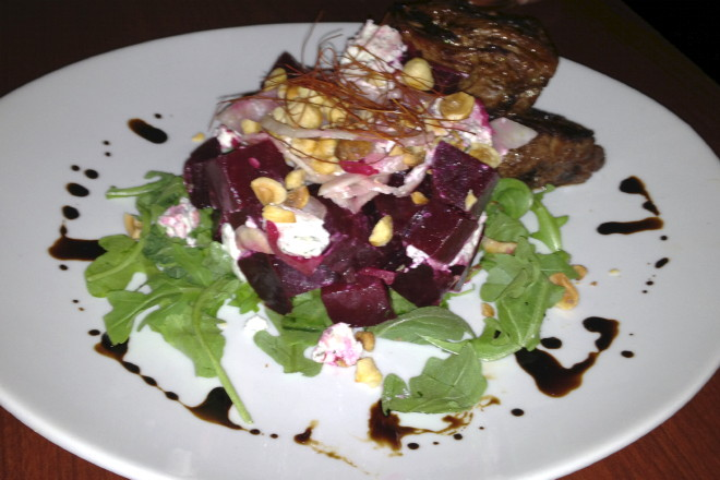 photo of beet salad with steak tips from Lucky's Lounge, Boston, MA