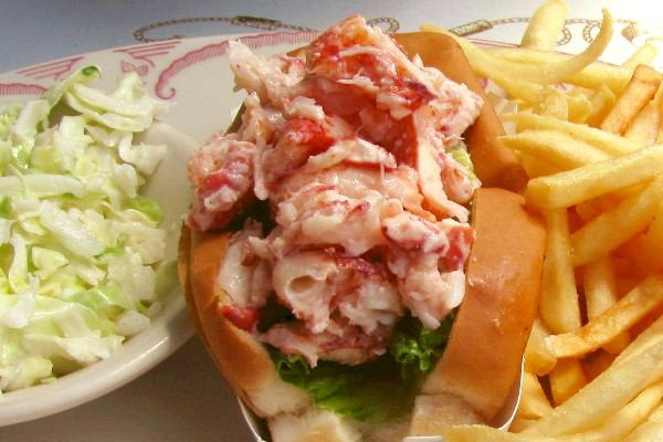 photo of lobster roll from Mabel's Lobster Claw, Kennebunkport, ME