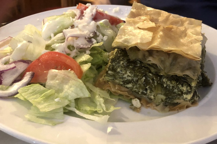 photo of spanakopita (spinach pie) from Maugus Restaurant, Wellesley, MA