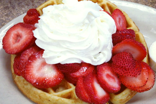 photo of waffle with strawberries from McKay's Breakfast and Lunch, Quincy, MA