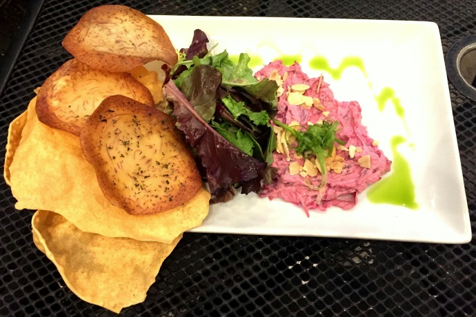 photo of caramelized onion-beet dip from Moonshine 152, South Boston, MA