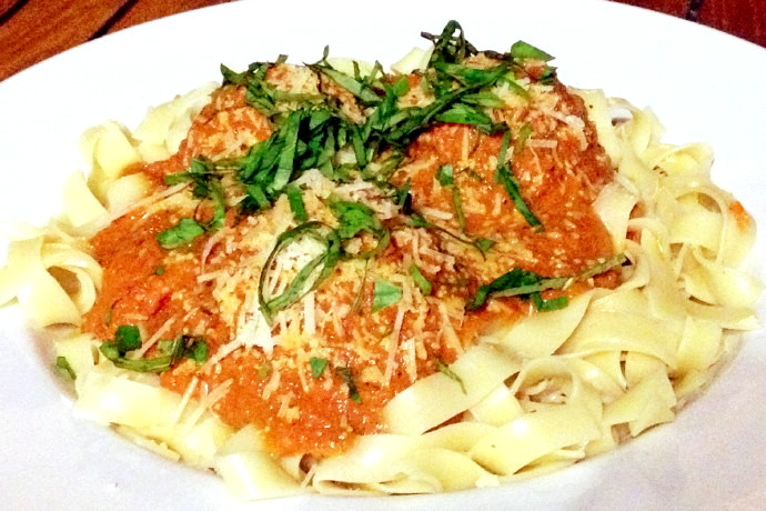photo of fettuccini with ricotta-stuffed meatballs from The Naumkeag Ordinary, Salem, MA