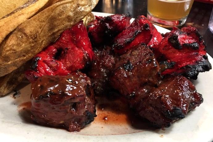 Steak Tips and Pork Tips from NewBridge Cafe, Chelsea, MA